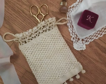 Wristlet Purse, Vintage and Hand Crocheted, Silk Lined and Silk Cord Bridal Accessory