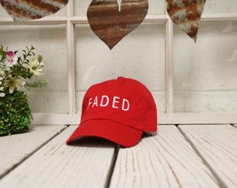 FADED Baseball Hat Low Profile Embroidered Baseball Caps Dad Hats Red
