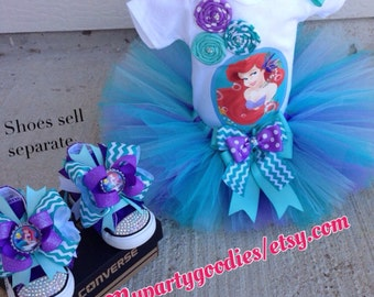 Under the Sea outfit, the little mermaid outfit, little mermaid birthday tutu, mermaid tutu set, ariel tutu, Ariel outfit.