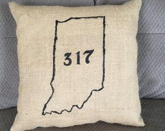 Shabby chic burlap pillow, Indiana 317 area code pillow, rustic decorative pillow, painted burlap
