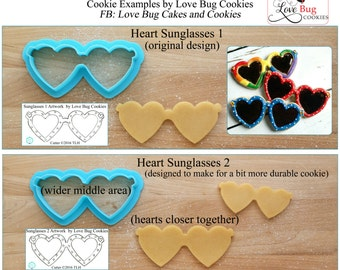 Heart Sunglasses Cookie Cutter and Fondant Cutter Designed by Love Bug Cookies - **Guideline Sketches to Print Below**