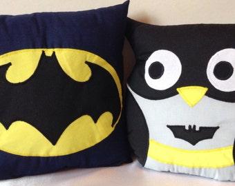 Super owl and Super hero cushion set.Super hero cushions.Super Hero symbol cushions