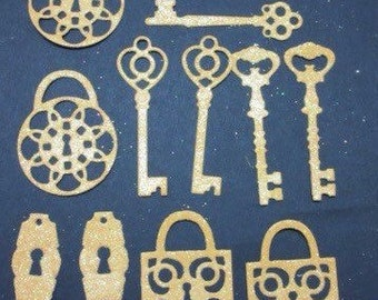12 pieces, lock and key die cuts