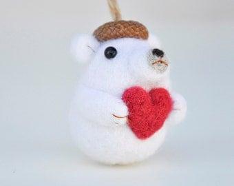 Polar bear ornament, needle felted polar bear, Christmas ornament, valentines day gift, polar bear figurine, animal ornament, gift for her
