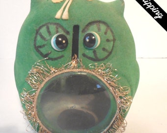RARE Vintage Mid Century Flocked Owl Bank with See Through Belly