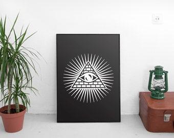 Illuminati eye, All seing eye print, Illuminati art print, Avant garde art, Modern art print, Black and white art, Modern home decor
