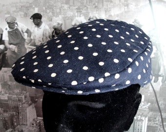 Flat Cap, navy blue and ivory spot cotton/linen mix flat cap for men