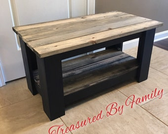 Black with barnwood effect wooden coffee table