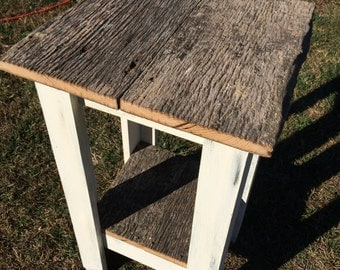 Reclaimed Barnwood Distressed white end table/Night stand-Set of 2