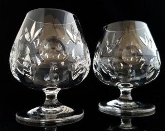 60s Heavy Cut Crystal Cognac Glasses, Set of 2 Brandy Balloon Snifters / German Crystalware / Mid Century Barware, Bar Cart