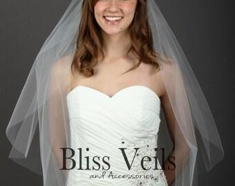 Simple Veil, Wedding Veil, Fingertip Veil, Bridal Veil, 2 Layer Veil, Blusher Veil, Ivory Veil, White Veil, Fast shipping!