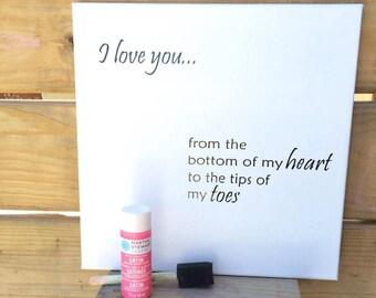 "DIY ""I Love You... Hand Print and Footprint"" Canvas Kit"