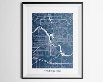 Map of Cedar Rapids, Iowa Abstract Street Map Print