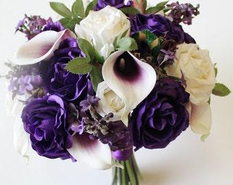 Purple Wedding Bouquet Purple Calla Lily Bouquet Purple Bouquet  Real Touch Calla Calla Lily Bridal Bouquet Wedding Bouquets