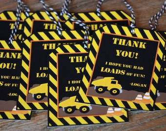 Construction Themed / Truck Themed Party *** CUSTOMIZABLE *** Favor Tags - Gift Tags - Thank You Tags - Sold in Lots of 8
