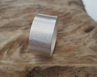 Sterling Silver wide leaf textured ring