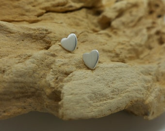 Fine silver mini heart earrings