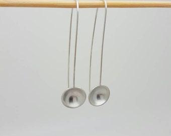 Sterling silver long drop domed earrings