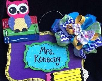 Teacher door sign, teacher sign, owl teacher sign, school sign, classroom sign, classroom door sign, teacher door hanger, classroom decor