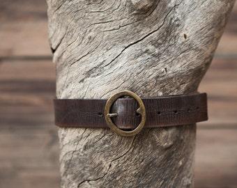 """Children's Belt - Dark Brown Leather Belt - Textured Finish with Brass Round Buckle (Children's) - 1.5""""width"""