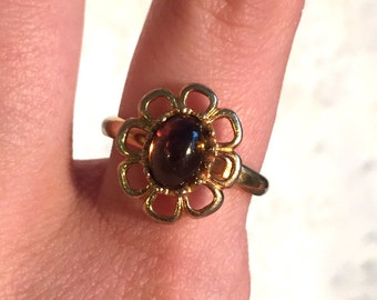 Vintage Sarah Coventry Amber Gold Tone Vintage Ring 1970s