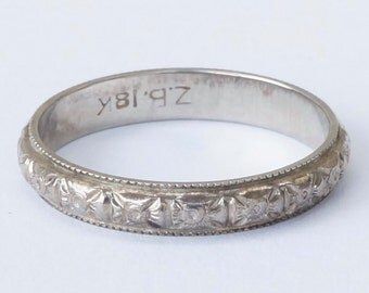 Antique 18k White Gold Floral Wedding Stacking Band Ring Size 5.25