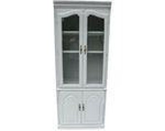 SALE ! Org 495.00 Tall Cabinet Newly Painted in White  With Sea Crest Design Beach House, Kitchen,Living room, Storage