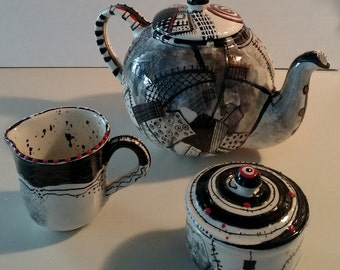 Hand Painted Ceramic Patchwork Tea Set