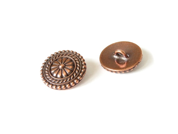 2x bali buttons with shank antique copper finish for Buttons with shanks for jewelry