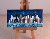 mini painting, chicago skyline, Moon Over Chicago,  2x4 canvas, on easel, ooak
