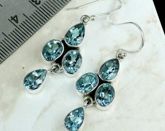Blue Topaz Earring, Blue Topaz Gemstone, Blue Topaz Jewellery, Dangle Earring, 925 Sterling Silver, Topaz Earring, Silver Earring, Earrings