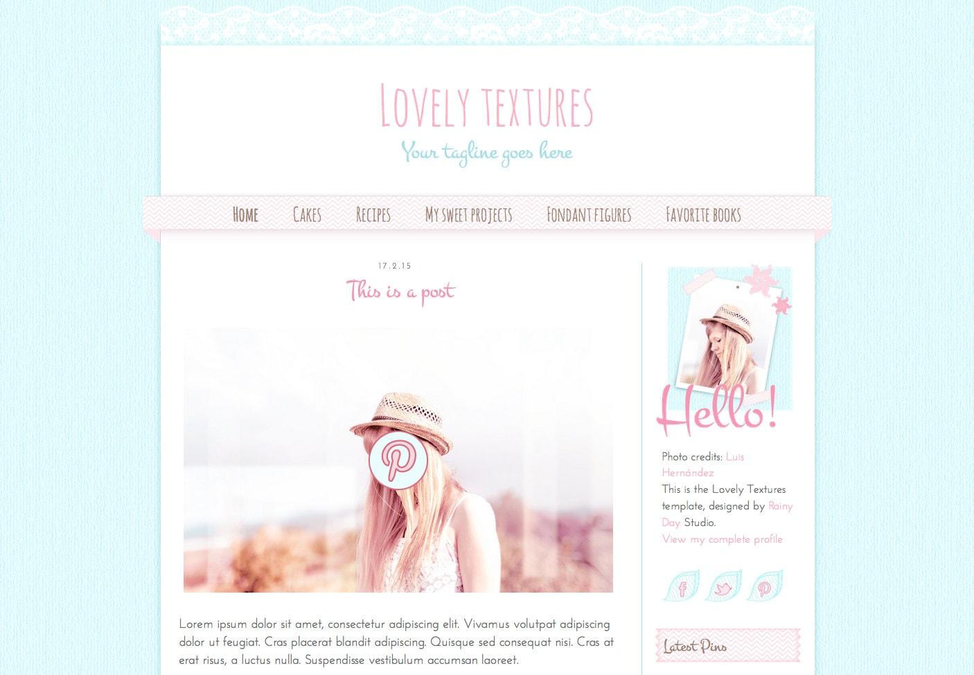blogger template lovely textures responsive blog design. Black Bedroom Furniture Sets. Home Design Ideas