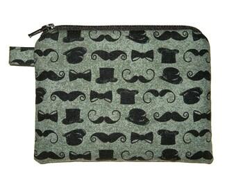 Bowler, Top hat, Moustache Coin Purse -  Padded Pouch - Zipper Coin Purse - Zippered Pouch - small Coin Purse - Boy's Coin Purse - Men's Bag