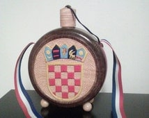 Folk Art Hand Carved Wooden Flask Canteen / 2 Sided Carvings Coat of Arms And Grape Clusters / Vintage Bar Wares / Home Decor