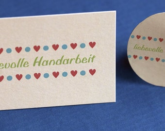 "SET: 100 Sticker + 100 Care Cards ""loving handwork"" - Design Pixeltum"