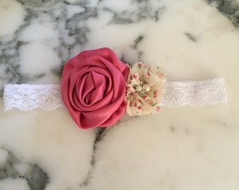 Shabby chic pink floral heaband