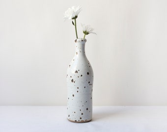 soliflor vase in modern speckled glazed earthenware