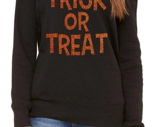 TRICK OR TREAT Orange Glitter Halloween Sweatshirt. Ladies Halloween oversized slouchy shirts , sweatshirt, off the shoulder, wide neck.