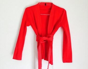 Red Kimono Wraparound Jacket/Minimalist Red Kimono/Oriental Style Kimono/Bohemian Kimono/Obi/Grunge Kimono/90's Kimono Jacket/Minimal/S/M