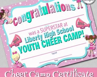 Customized Cheer Camp Certificate, Customized For You, Digital File