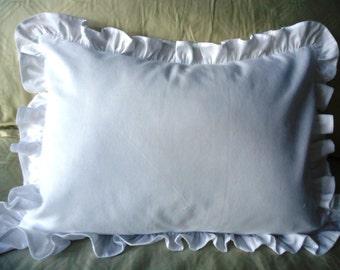 """SHABBY CHIC Ruffle Pillow (1) 16"""" x 12""""  WHITE 100% Cotton w/Insert"""