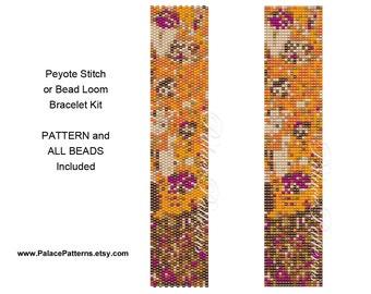 PP40 Peyote Stitch or Bead Loom Bracelet KIT - Pattern and Delica Bead Colors Included- Bracelet Beadweaving Kit