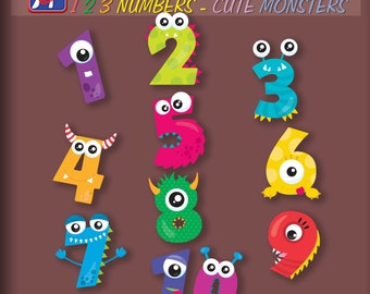123 numbers Cute Monsters  wall decals - 123 Monster numbers - Cute Monsters stickers - Kids room decor - Bedroom Nursery Playroom Decor