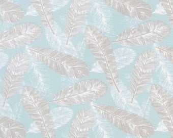 Spa Blue Valance. Feather Print Valance. Flock.  Taupe and light blue. Window treatment.Designers pattern.window topper. Choose  your sizes