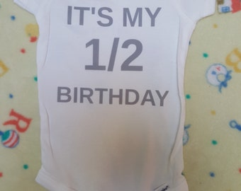 Happy 1/2 Birthday!1/2 Birthday onesie-Baby Boy 6 month onesie-My 1/2 Birthday onesie-Tie theme onesie