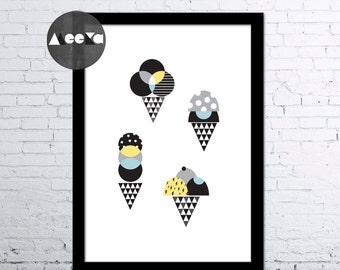 Ice Cream! Ice Cream! A3 Print