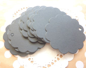 25 Black Kraft Paper Flower Shaped Gift Tags Price Tag Crafts 6 x 6cm