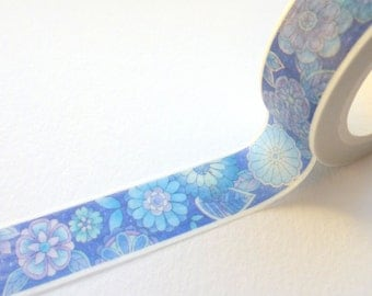 Navy Flowers Watercolour Effect Washi Tape 15mm x 10m