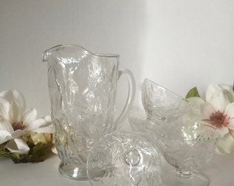 Crinkle Glass Footed Sherbet/Champagne Glasses by Morgantown Glass