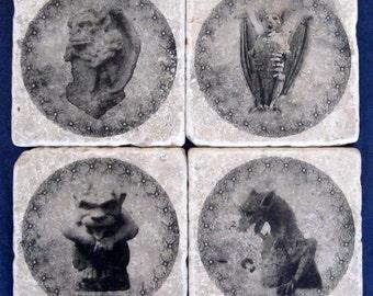 Stone Tile Coasters - Gargoyles #2 - Set of Four - Home Decor